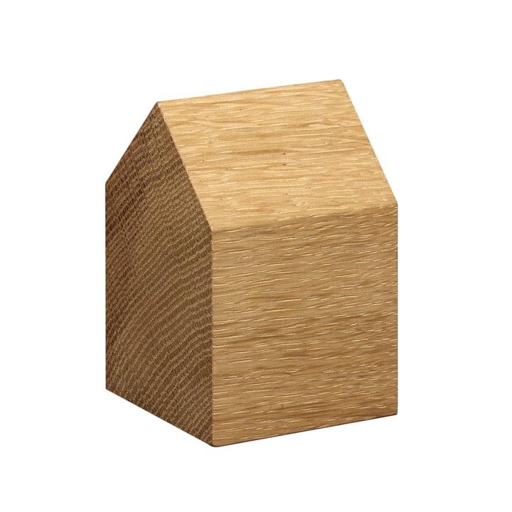 e15 - Presse-papiers en bois AC10 Haus en chêne avec toit à deux versants, petit