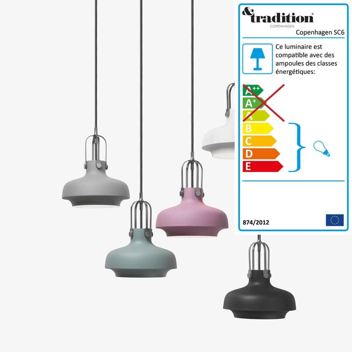 Copenhagen SC6 luminaire suspendu par &Tradition en noir mat
