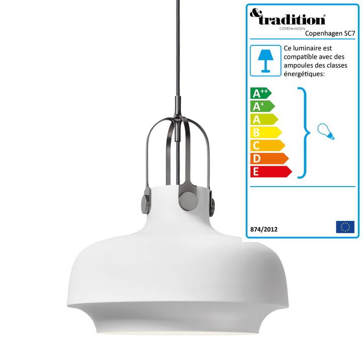 Copenhagen SC7 luminaire suspendu par &Tradition en blanc mat