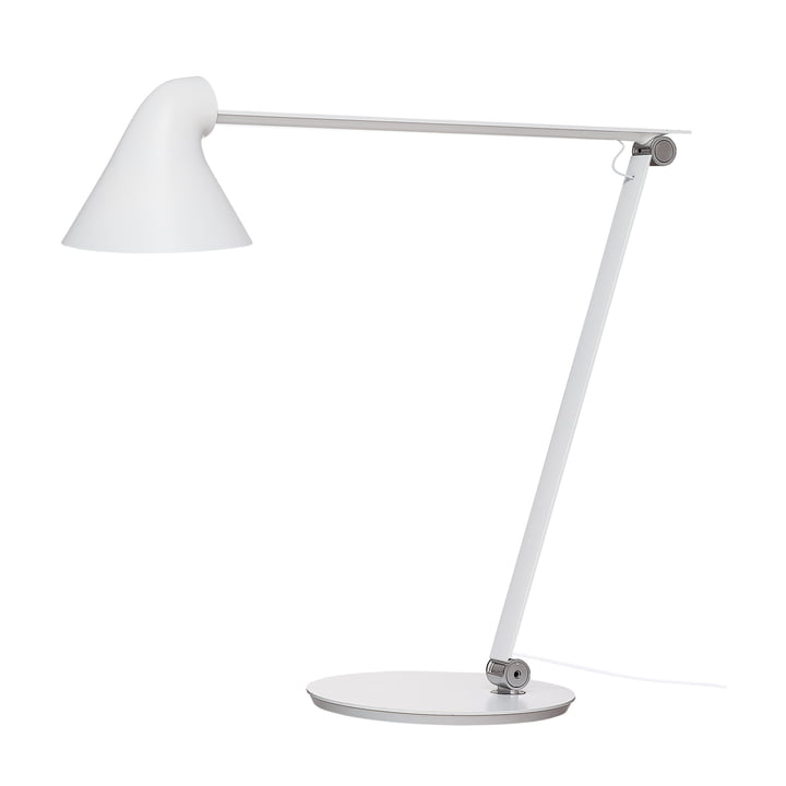Lampe de table LED NJP avec pied Louis Poulsen en blanc