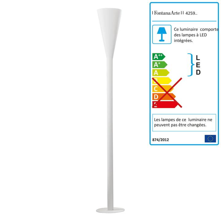 FontanaArte - Lampadaire Riluminator à LED en blanc