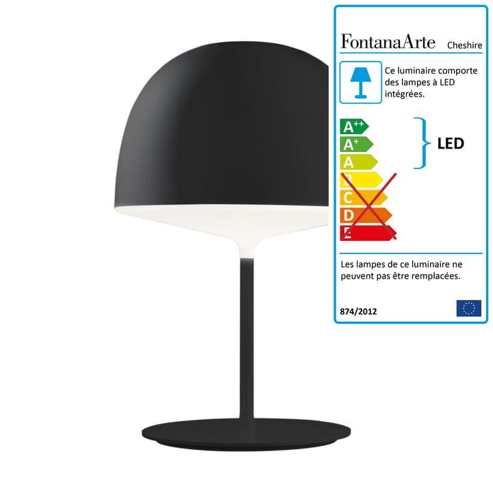 Lampe de table Cheshire de FontanaArte en noir