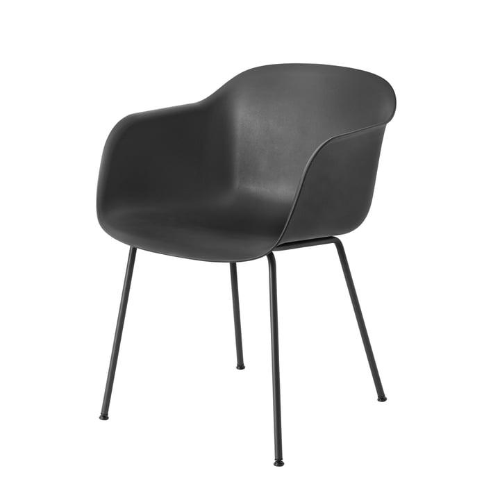 Muuto - Fiber chaise - Tube Base, noir / noir