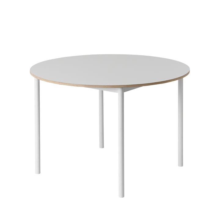 Muuto - Base Table Ø 110 cm en blanc avec bord en contreplaqué