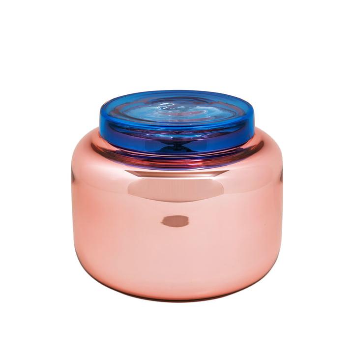 Vase Low Container de Pulpo en vieux rose et avec un couvercle bleu