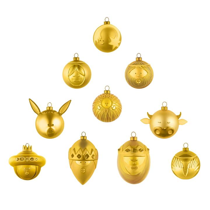 Boules de Noël (lot de 10) par A di Alessi en or
