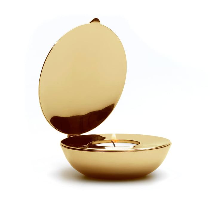 Design House Stockholm - Photophore pour bougies chauffe-plat Shell en laiton