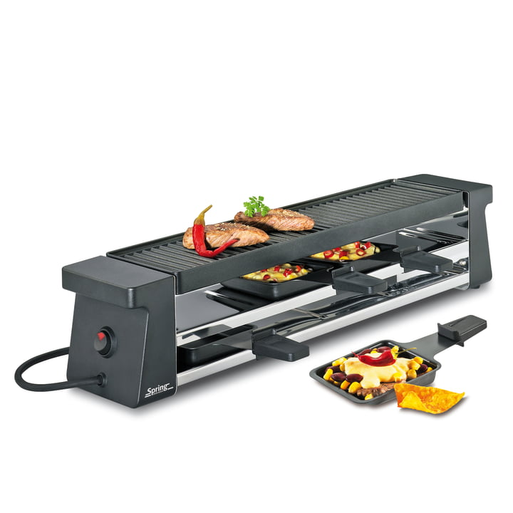 Raclette 4 Compact, noir avec plaque grill alu de Spring