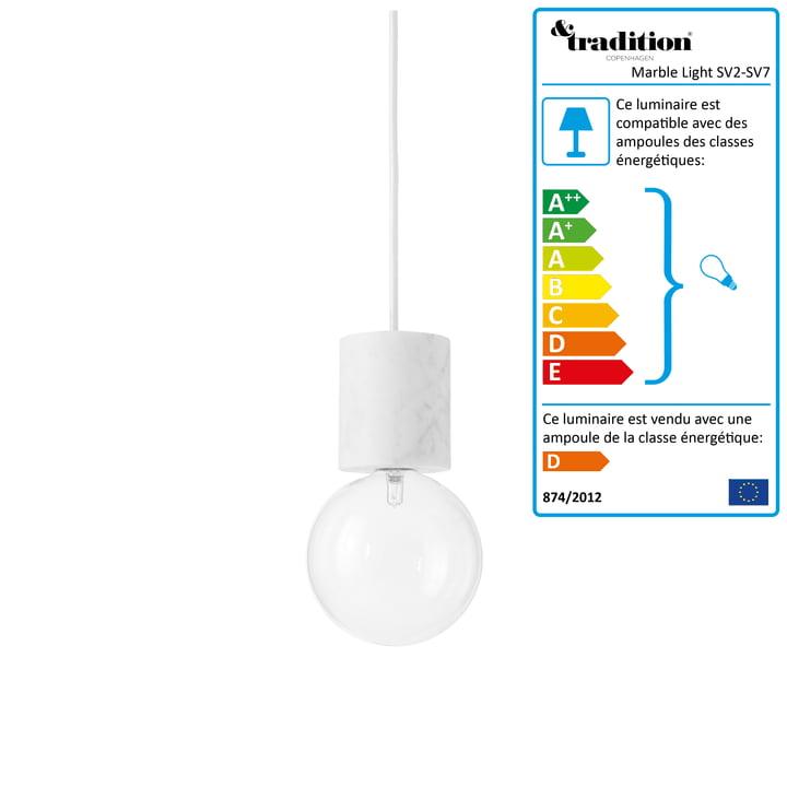 &Tradition -  Suspension lumineuse Marble Light SV2 en blanc