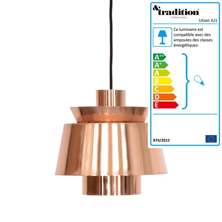 Lampe à suspension Utzon JU1 de &Tradition en cuivre