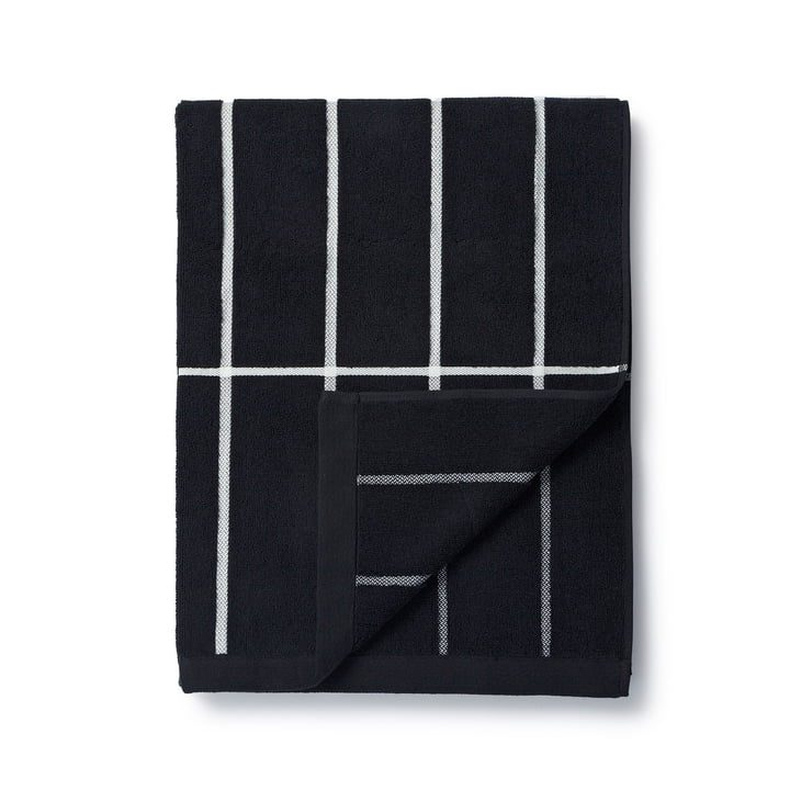 Marimekko - Serviette de bain Tiiliskivi 75x150cm en noir/blanc