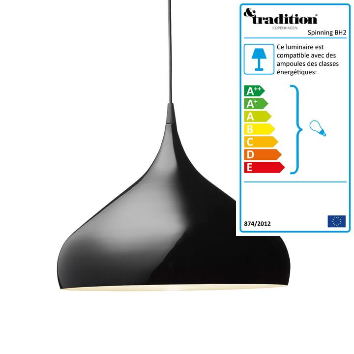 &Tradition - Suspension lumineuse Spinning  BH2, noir