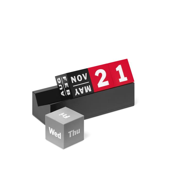 Le calendrier perpétuel Cube de MoMA Collection en rouge, noir et différents tons de gris