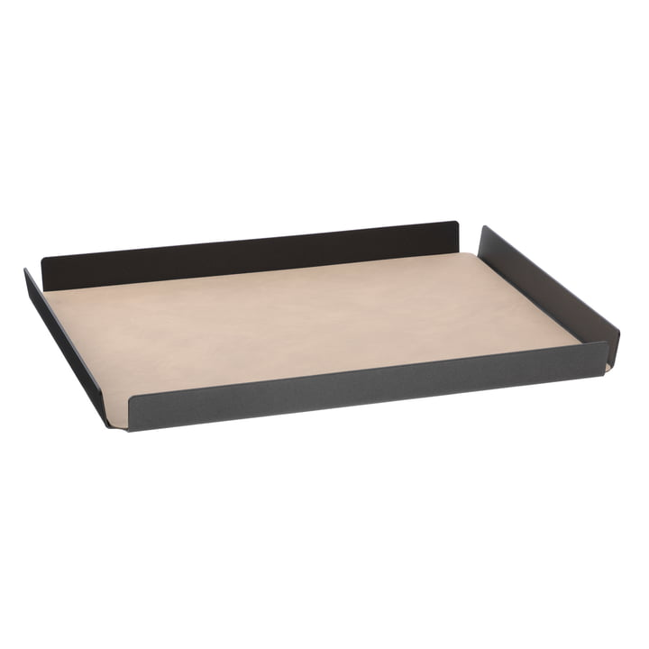 LindDNA - Plateau Tray Square aluminium Double Cloud/nupo 36 x 46 cm, anthracite/sable