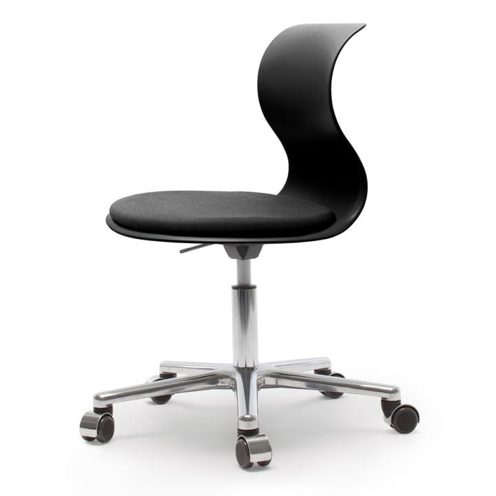 Flötotto - Pro 6 Chaise pivotante, aluminium poli / noir graphite, rembourrage noir graphite, roulettes douces (avec couvercle poli)