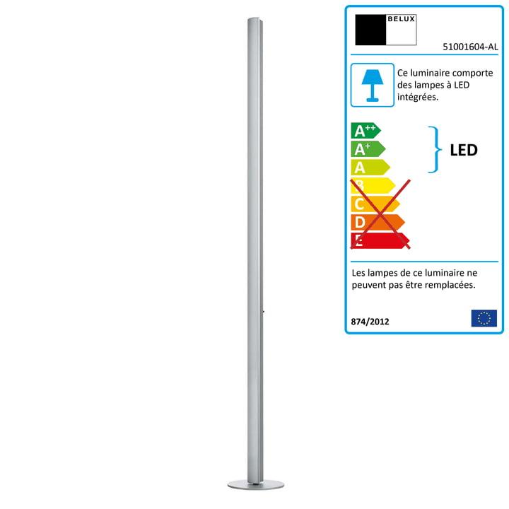 Belux - Lampadaire LED Ypsilon, alu naturel anodisé
