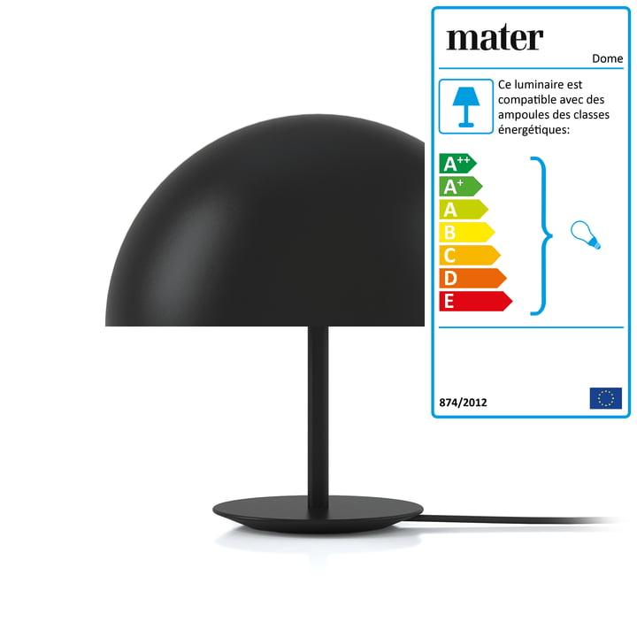 Lampe de table Dome de Mater Ø 40 cm en noir