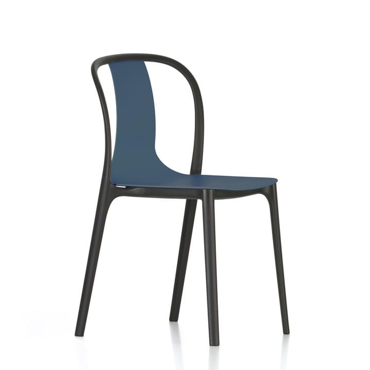 Chair Plastic Belleville par Vitra en bleu marine