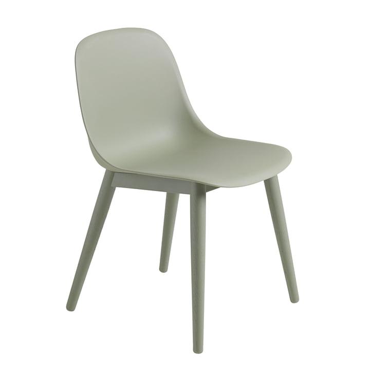 Muuto - Fiber Side Chair Wood, dusty green / dusty green