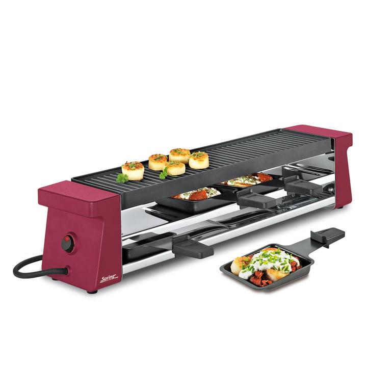 Spring - Raclette 4 Compact, rouge avec plaque grill alu EU