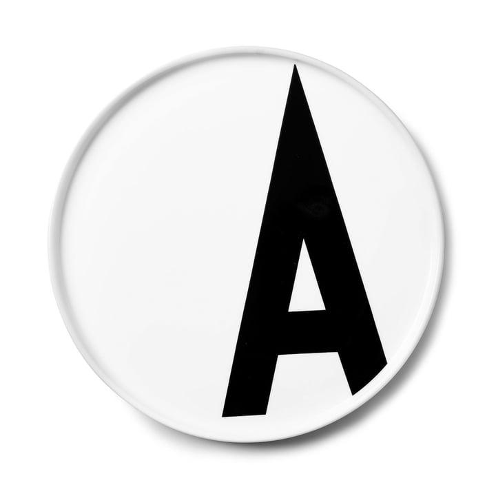 L'assiette en porcelaine A de AJ de Design Letters