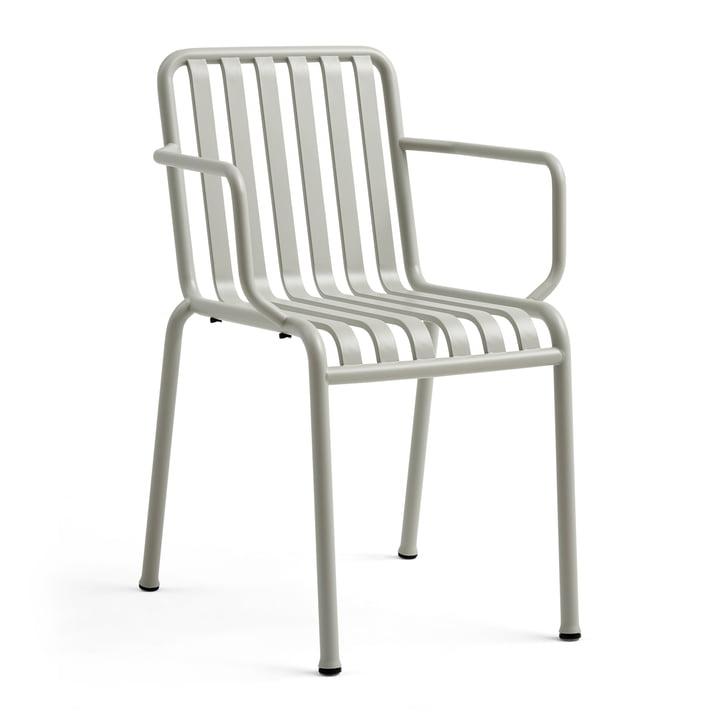 La chaise à accoudoirs Palissade de Hay en gris clair