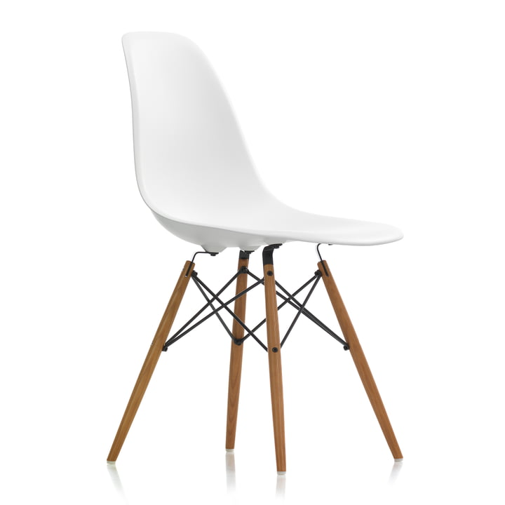 Chaise Eames Plastic Side Chair DSW by Vitra en frêne miel / blanc