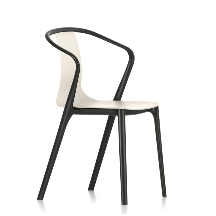 Armchair Plastic Belleville par Vitra en noir intense / crème