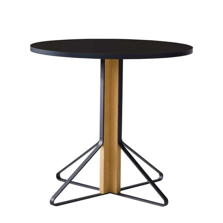 Table Kaari REB 003 Ø 80 cm par Artek en noir ultra brillant/chêne naturel