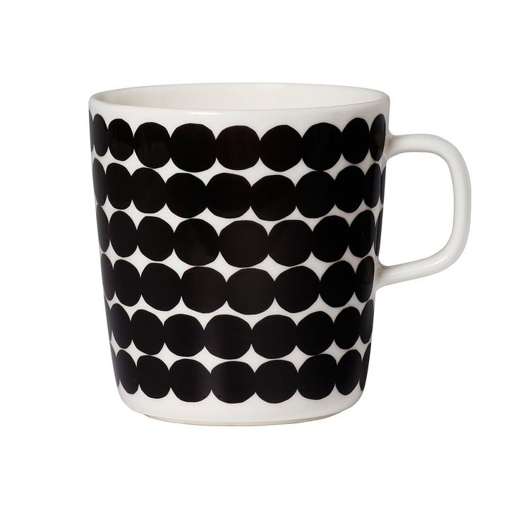 Marimekko - Tasse Oiva Räsymatto avec anse, noir / blanc, 400 ml