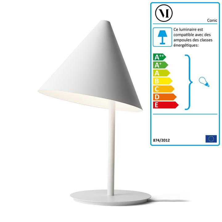 La lampe de table Conic Tablelamp par Menu en blanc.