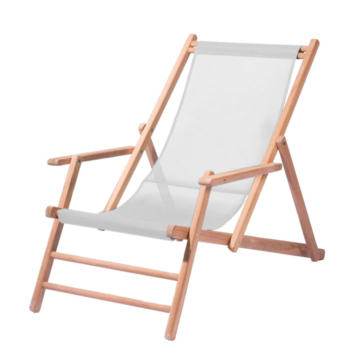 Jan Kurtz - Chaise longue en teck, tissu blanc