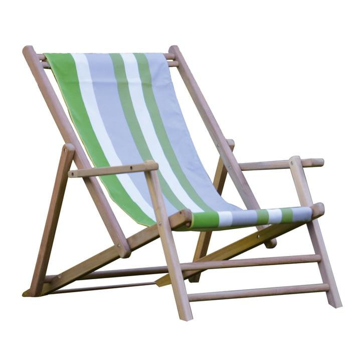 Jan Kurtz - Chaise longue en teck, toile Designers Guild, rayures Tarifa Leaf