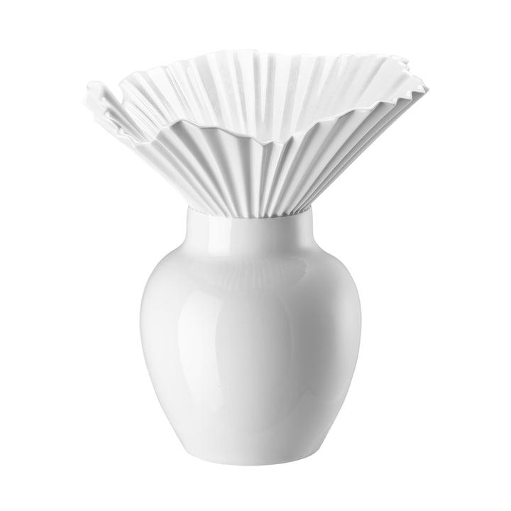 Le vase Falda de Rosenthal en blanc émaillé
