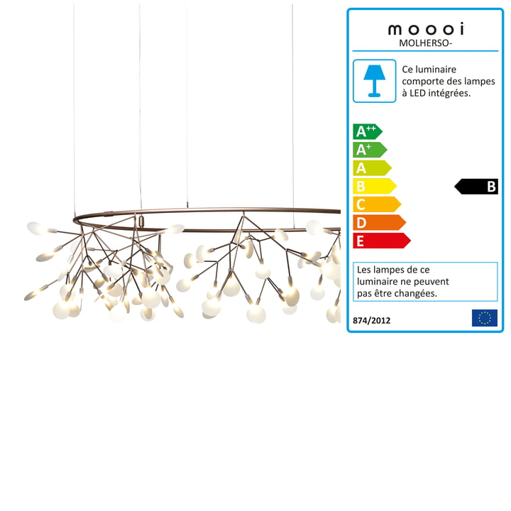 Suspension lumineuse Heracleum Small Big O de Moooi en cuivre