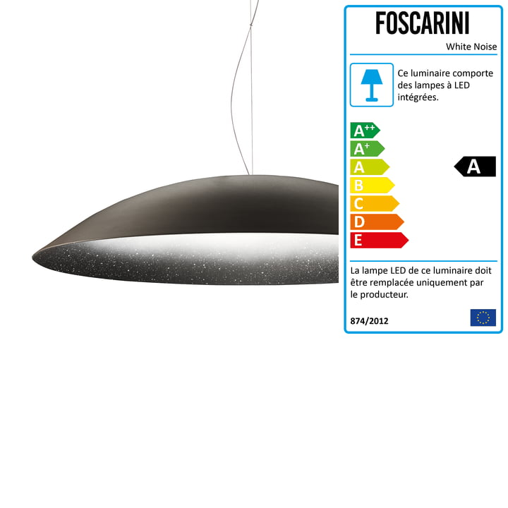 La suspension lumineuse White Noise de 2 m en noir de Diesel Living