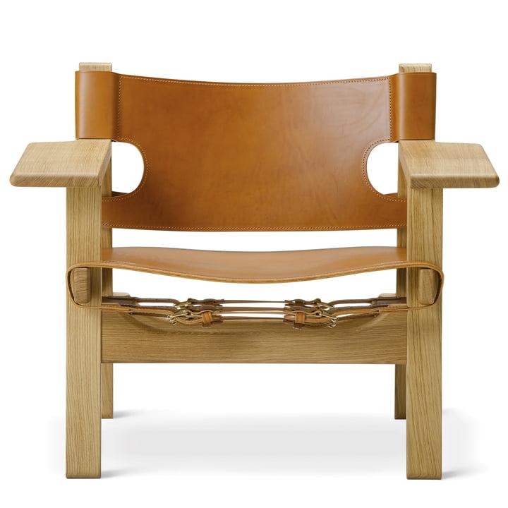 Chaise espagnole de Frédéricia en chêne huilé / cuir cognac