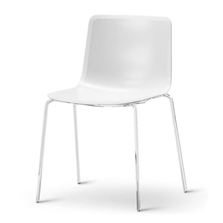 Chaise Pato à quatre pieds de Fredericia en blanc/chrome