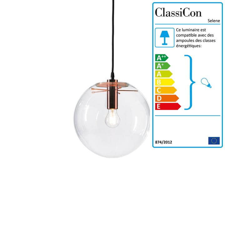 ClassiCon - Selene Suspension lumineuse, cuivre Ø 25 cm