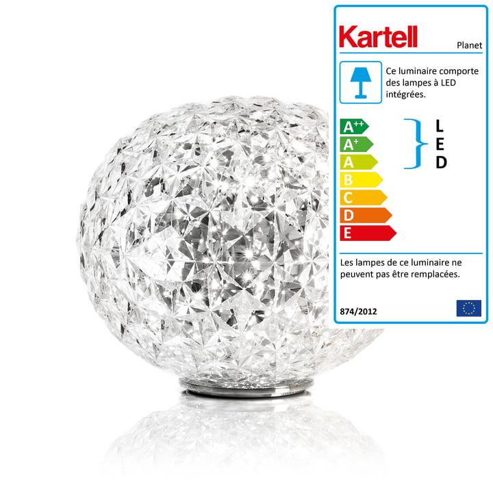Lampe de table à LED Planet avec socle de Kartell en transparent