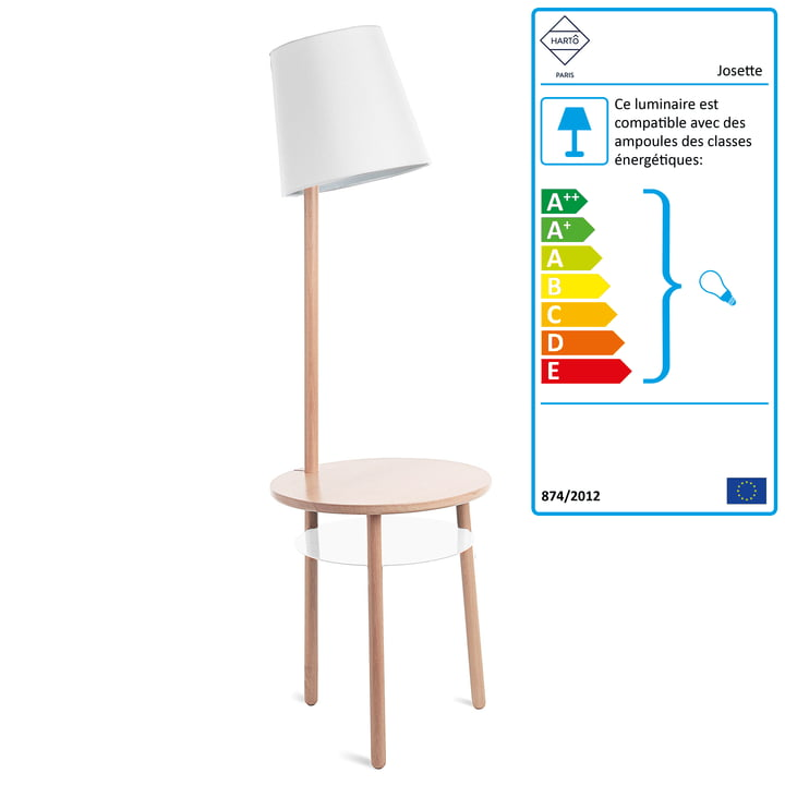 Lampe-table Josette de Hartô en frêne naturel en blanc