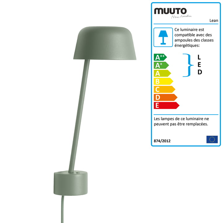 L'applique murale Lean LED par Muuto en dusty green