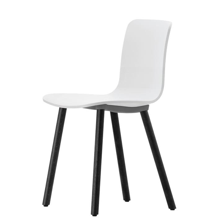 Vitra - chaise Hal Wood, blanc / chêne foncé, patins en feutre