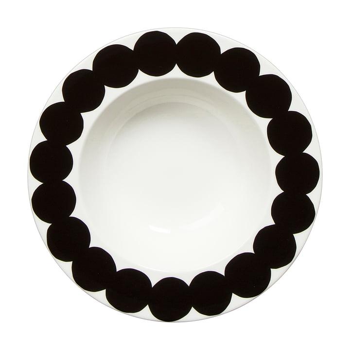 Marimekko - assiette creuse Oiva Räsymatto Ø 20cm, blanche/noire