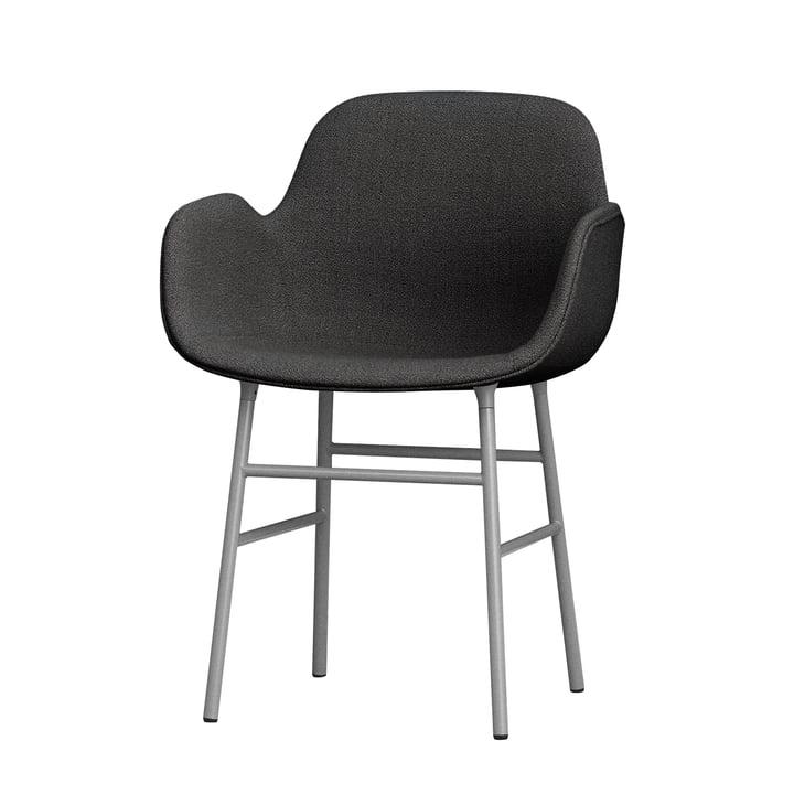 Form Armchair Steel Legs (capitonnée) par Normann Copenhagen en gris (Breeze Fusion 4001)