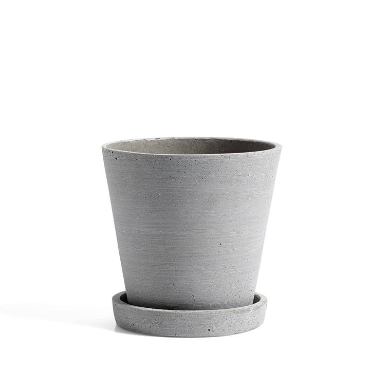 Hay - pot de fleur avec soucoupe M, gris