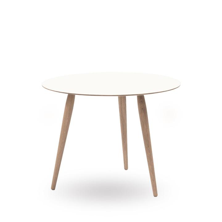 Table d'appoint Play Round en stratifié Ø60cm de bruunmunch en Crystal White/chêne savonné