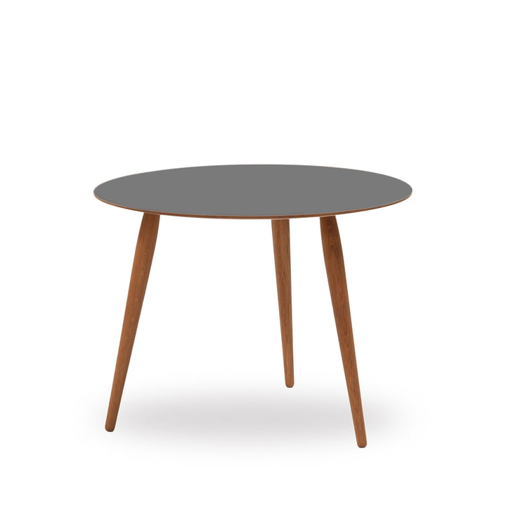 Table d'appoint Play Round en stratifié Ø 60 cm de bruunmunch en Storm Grey/chêne huilé