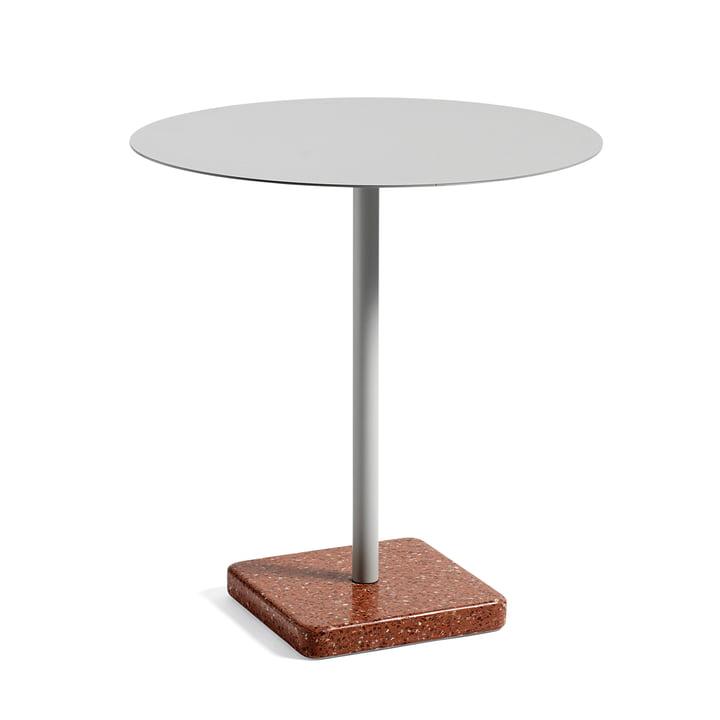 Hay - Table Terrazzo ronde Ø75cm, gris clair/rouge