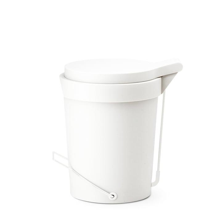 Depot4Design - Poubelle à pédale Tip 7 litres, Ø 22 cm, blanc
